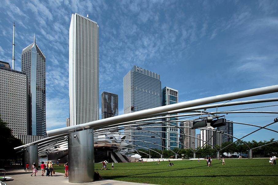 Skyline Chicago; Jay Pritzker Pavilion; Millenium Park; Chicago Skyline_architektur_foto_frankfurt_chicago_skyline_01_klewar-photographie_6598