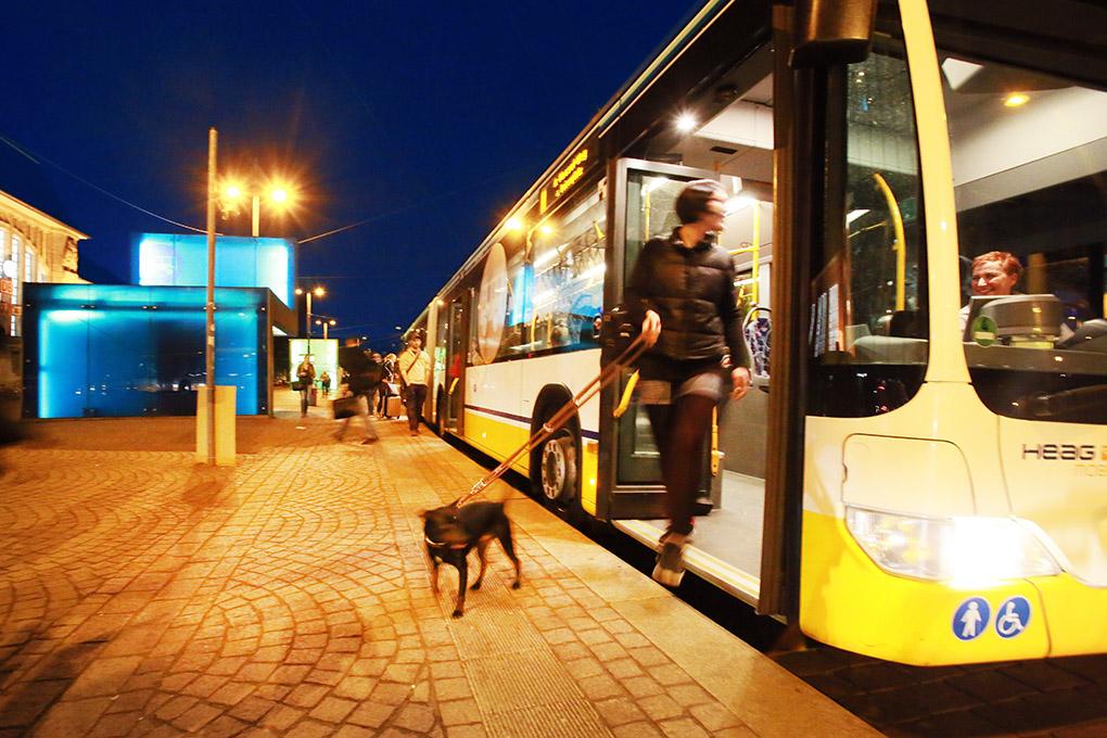 Bushaltestelle mit Wartehalle und Fahrgästen der Heag Mobilo am Hauptbahnhof in Darmstadt am Abend, reportage_foto_oepnv-darmstadt_verkehr_bus_klewar-photographie_frankfurt-7534
